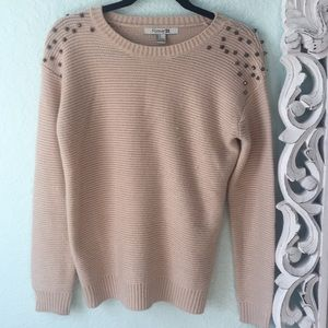 Forever 21 beige Shoulder Studded Sweater